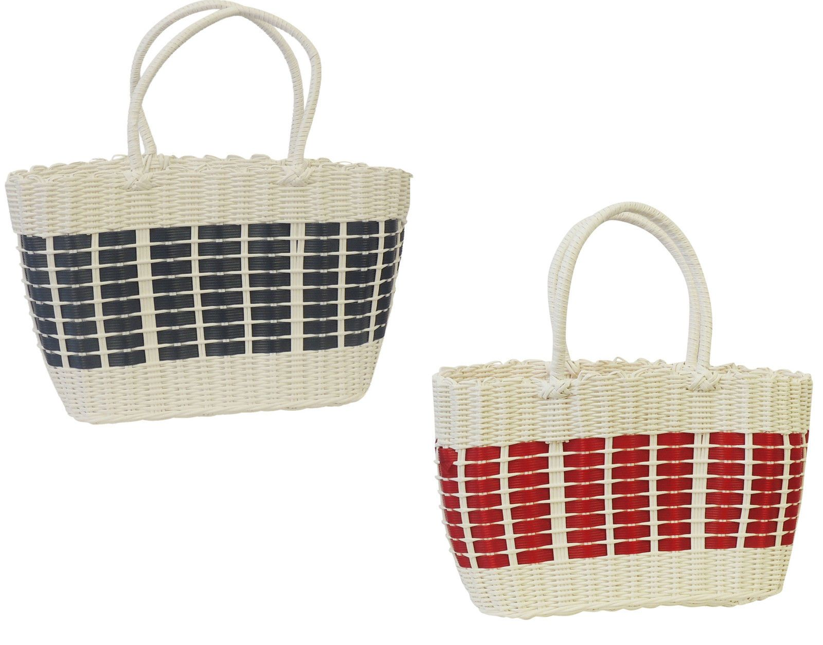 Red plastic picnic basket : New retro s style white red blue plastic beach