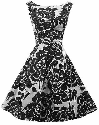 New Rosa Rosa 1940\'s 50 s style Black White Floral Rockabilly Party ...