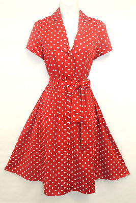 New Red Polka Dot WWII 1940s Vintage Style Classic Shirt