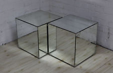 Timeless Retro Design Classic - Pair of Mirrored Side Tables / Storage Cubes